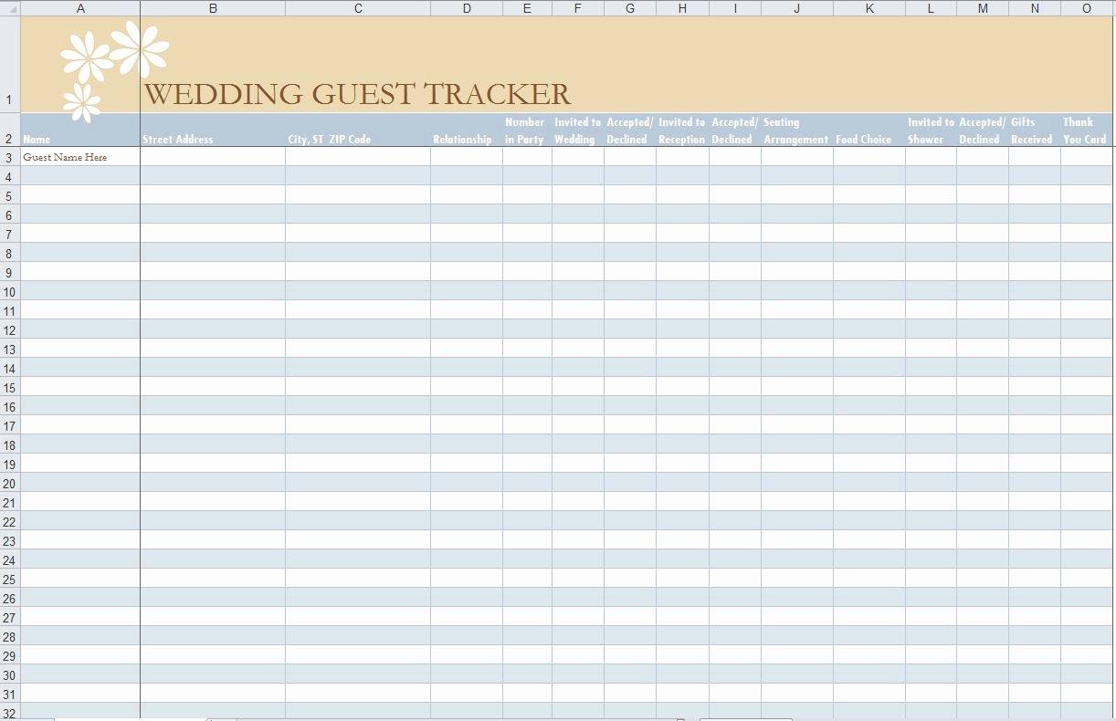 Wedding Guest List Template Excel New Wedding Guest List Template