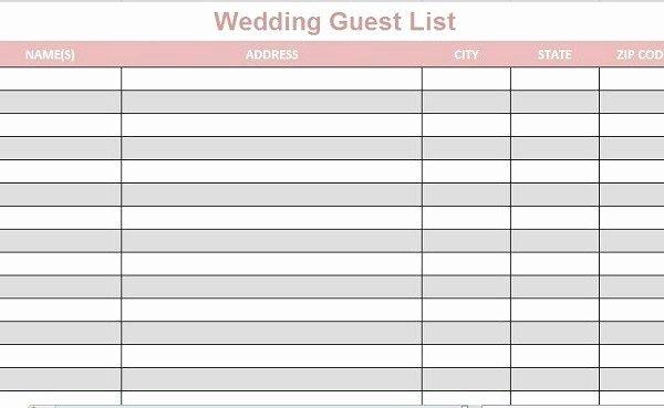 Wedding Guest List Template Excel New Wedding Guest List Template Printable Full Lists Excel 2