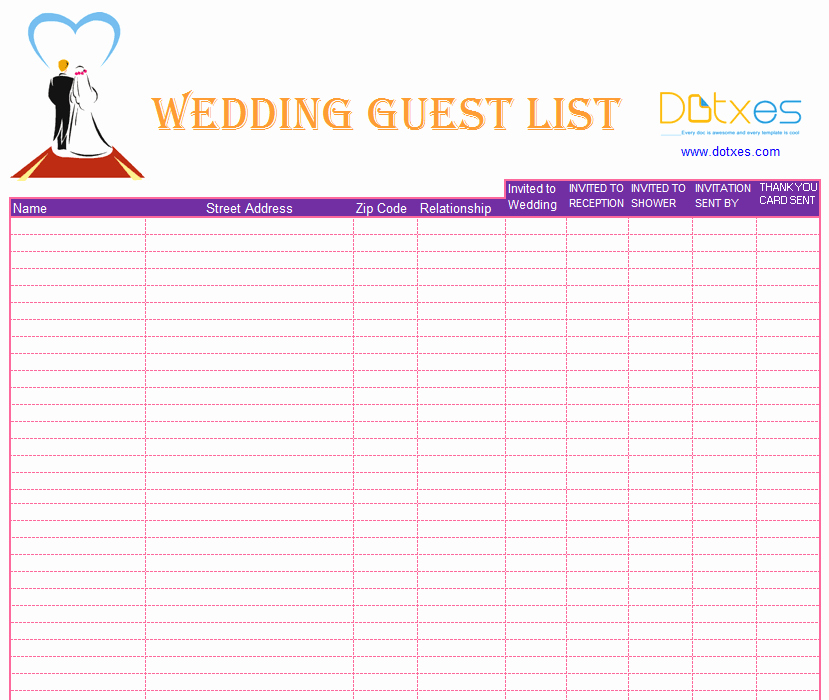 Wedding Guest List Template Excel Unique Blank Wedding Guest List Template Dotxes