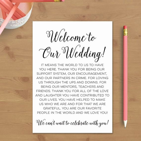 Wedding Hotel Welcome Letter Template Awesome Printable Wedding Wel E Letter Instant Download