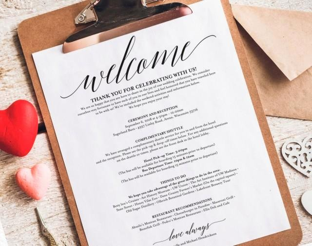 Wedding Hotel Welcome Letter Template Awesome Wedding Itinerary Wel E Bag Printable Itinerary