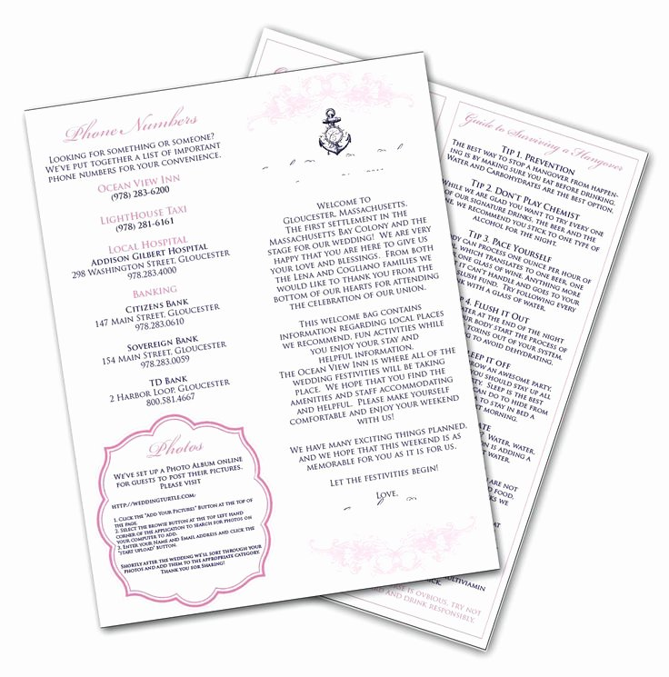 Wedding Hotel Welcome Letter Template Elegant Hotel Wedding Wel E Bag Ideas
