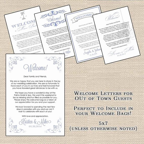 Wedding Hotel Welcome Letter Template Inspirational Hotel Wel E Bag Letters for Out Of town Guests by