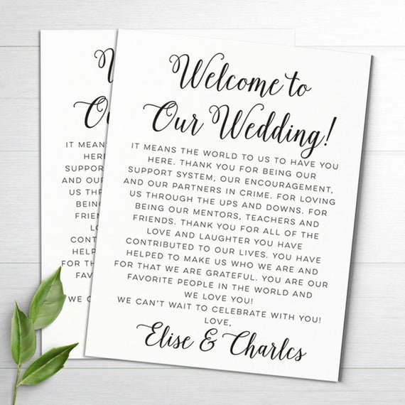 Wedding Hotel Welcome Letter Template Inspirational Wedding Wel E Letters Wedding Itineraries Wedding Wel E
