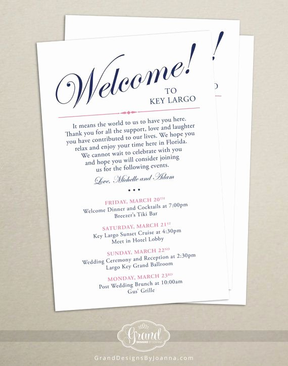Wedding Hotel Welcome Letter Template Lovely Itinerary Cards for Wedding Hotel Wel E Bag Printed