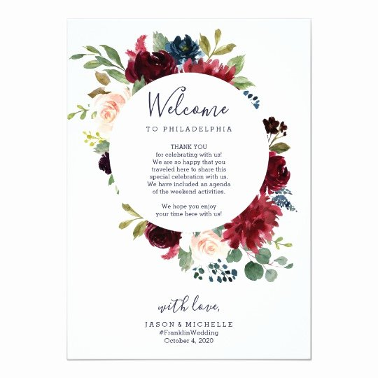 Wedding Hotel Welcome Letter Template Lovely Wedding Itinerary Hotel Wel E Letter Burgundy