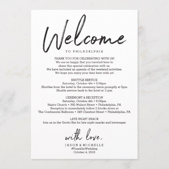 Wedding Hotel Welcome Letter Template Luxury Wedding Itinerary Hotel Wel E Letter