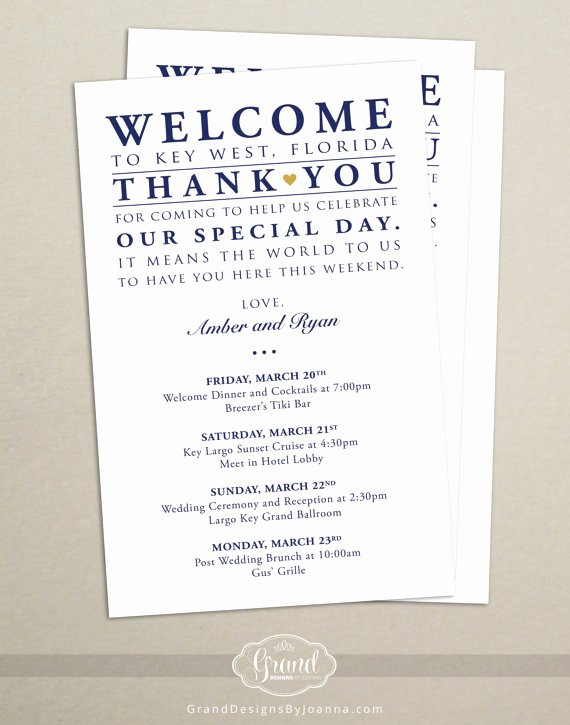 Wedding Hotel Welcome Letter Template New Itinerary Cards for Wedding Hotel Wel E Bag Printed