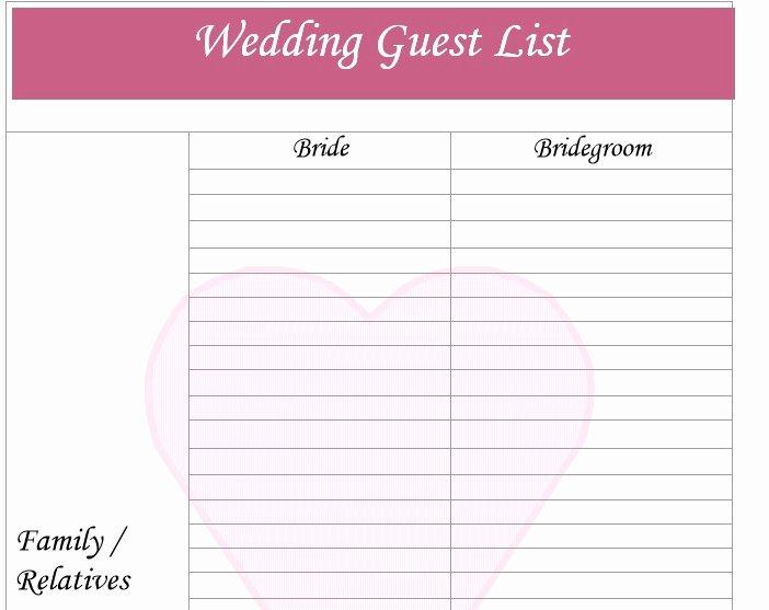 Wedding Invitation List Templates Awesome 30 Free Wedding Guest List Templates Templatehub