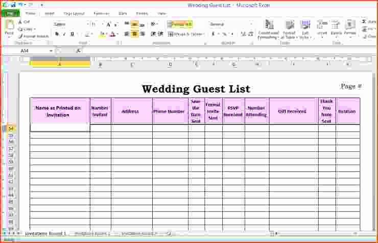 Wedding Invitation List Templates Elegant 6 Wedding Guest List Template Excel Bookletemplate