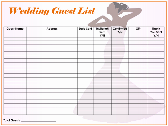 Wedding Invitation List Templates Elegant Free Wedding Guest List Templates for Word and Excel