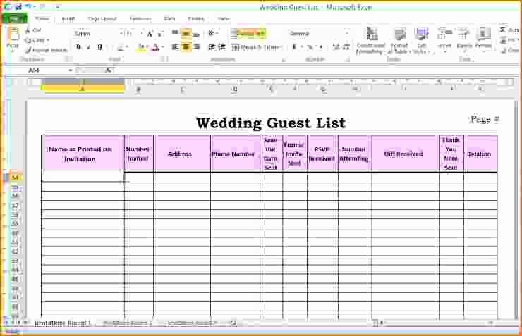 Wedding Invitation List Templates Fresh 5 Wedding Guest List Template Excel