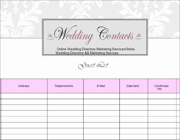 Wedding Invitation List Templates Inspirational Wedding Guest List Template 6 Free Sample Example