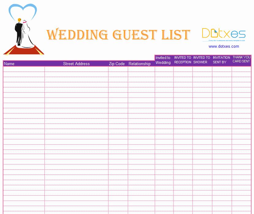 Wedding Invitation List Templates Lovely Blank Wedding Guest List Template Dotxes