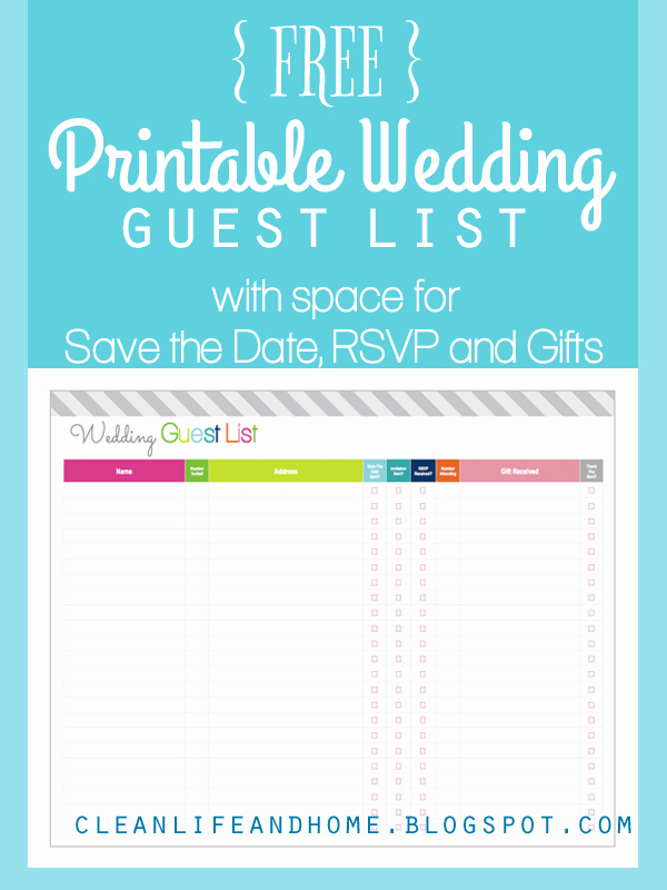 Wedding Invitation List Templates Lovely Clean Life and Home Freebie Friday Printable Wedding