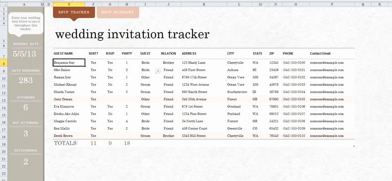 Wedding Invitation List Templates Luxury 7 Free Wedding Guest List Templates and Managers