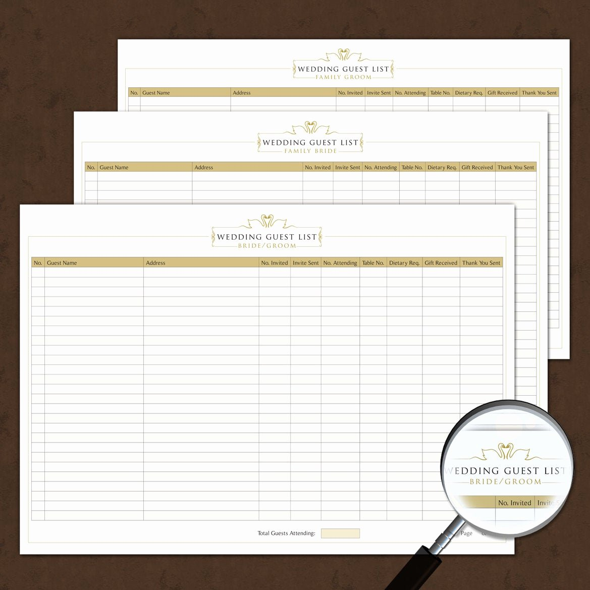 Wedding Invitation List Templates New Wedding Guest List Template Interactive Printable & Fillable