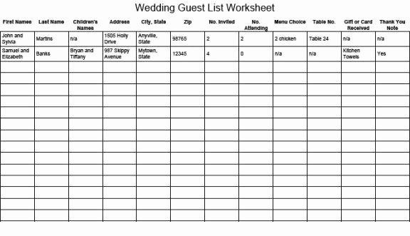 Wedding Invitations List Template Awesome 17 Wedding Guest List Templates Excel Pdf formats