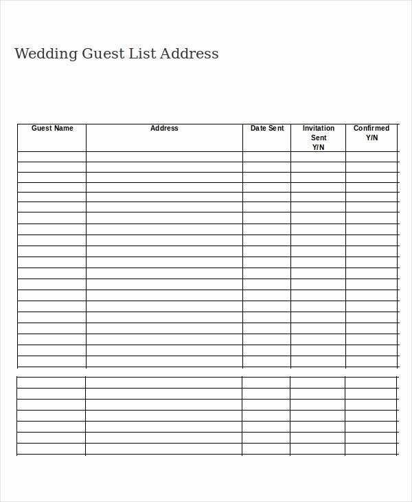 Wedding Invitations List Template Awesome Wedding Guest List Template 9 Free Word Excel Pdf
