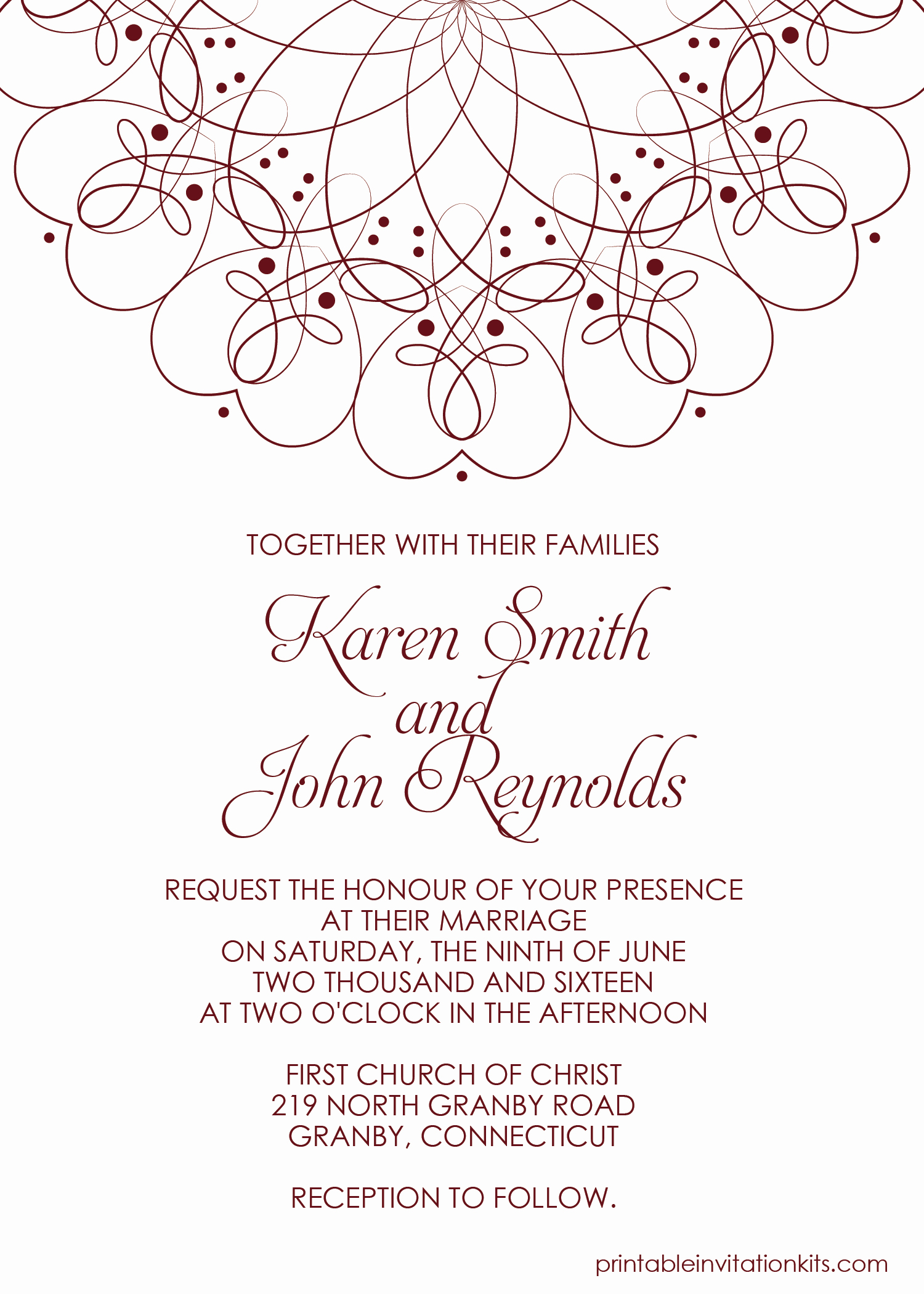 Wedding Invitations List Template Best Of Spiral Border Invitation Free Pdf Template for Weddings