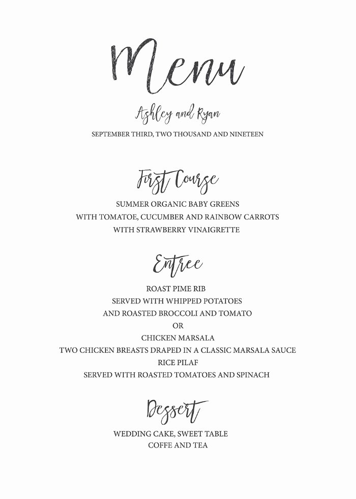 Wedding Invitations List Template Elegant Print Timeless and Simple Free Printable Wedding Menu