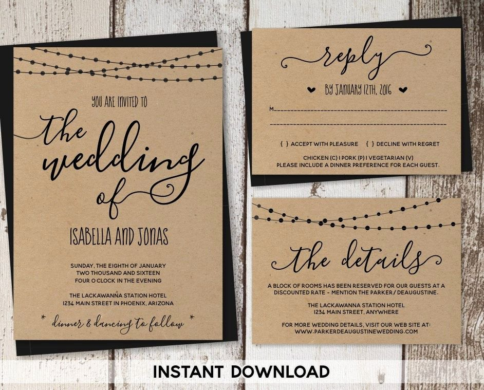 Wedding Invitations List Template Lovely Wedding Invitation Template Rustic Printable Set