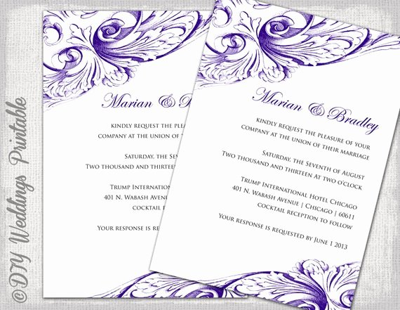 Wedding Invitations List Template New Wedding Invitation Template Eggplant Diy Wedding Invitations