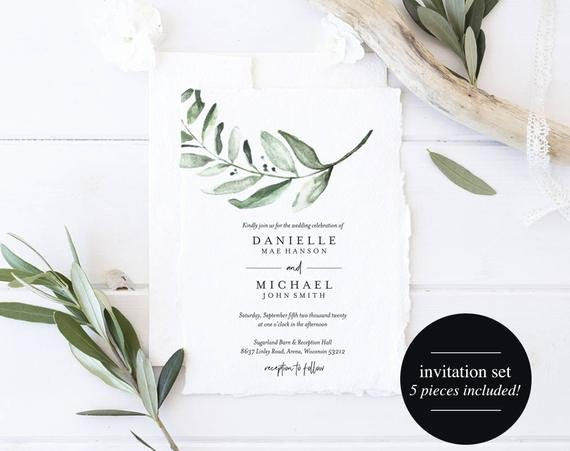 Wedding Invitations List Template Unique Greenery Wedding Invitation Template Wedding Invite