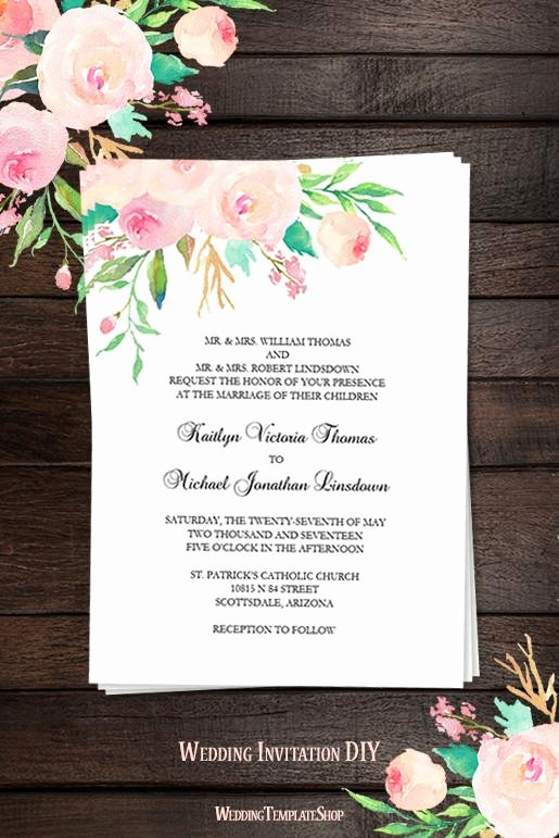 Wedding Invitations List Template Unique Printable Wedding Invitation Template Watercolor Floral 3