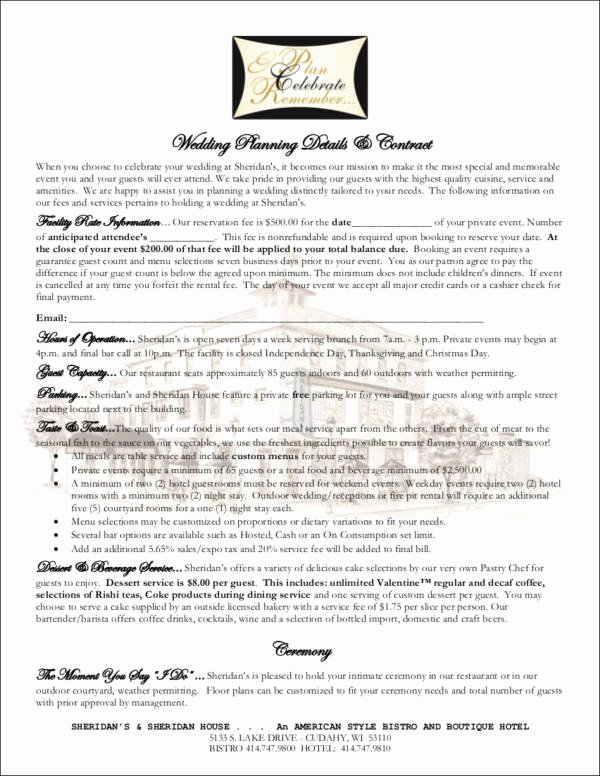 Wedding Planners Contract Template Beautiful Free 14 Wedding Contract Samples In Word Pdf