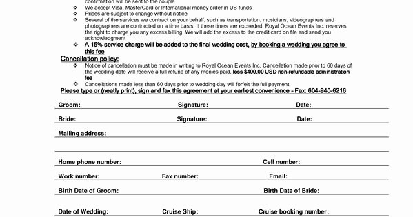 Wedding Planners Contract Template Inspirational Wedding Planner Contract Sample Templates