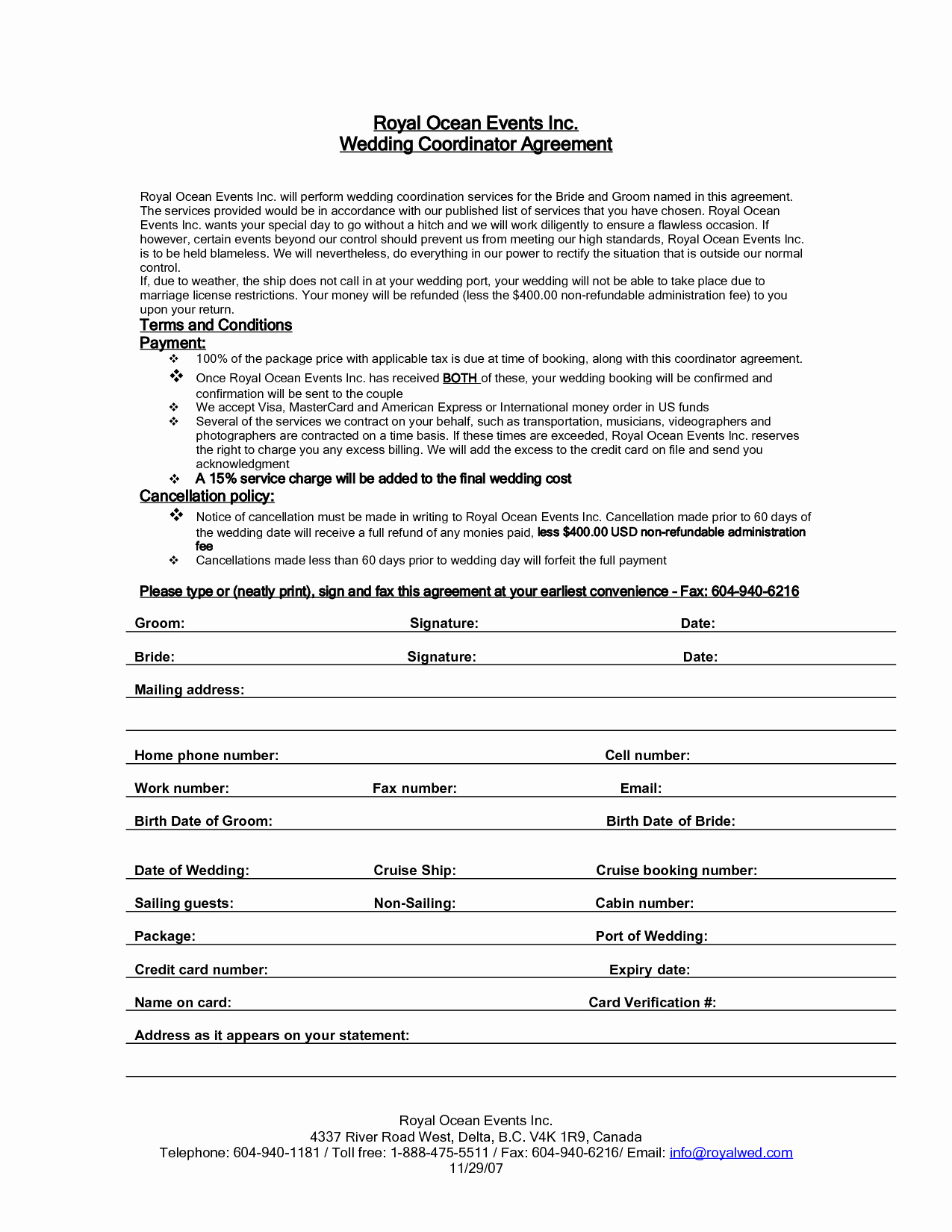 Wedding Planners Contract Template Lovely Wedding Planner Contract Agreement Life Hacks