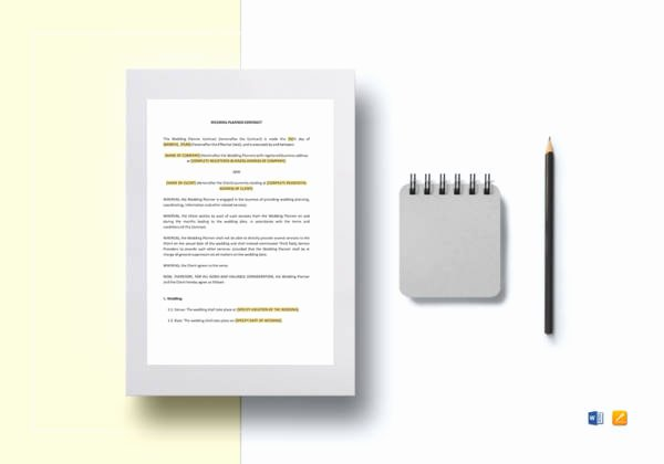 Wedding Planning Contract Templates Inspirational Free 5 Wedding Planner Contract Samples & Templates In