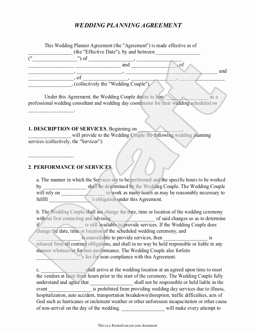 Wedding Planning Contract Templates Inspirational Sample Contracts for event Planners Google Search