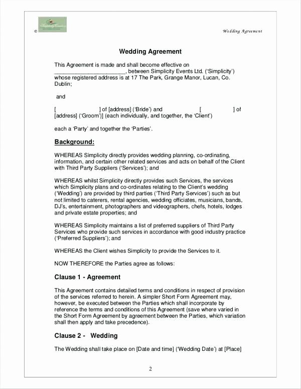 Wedding Planning Contract Templates Lovely event Contract Template 16 Free Word Excel Pdf Documents