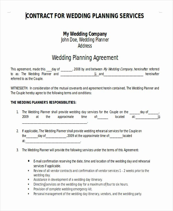Wedding Planning Contract Templates New 7 Wedding Planner Printable Sample Examples In Word Pdf