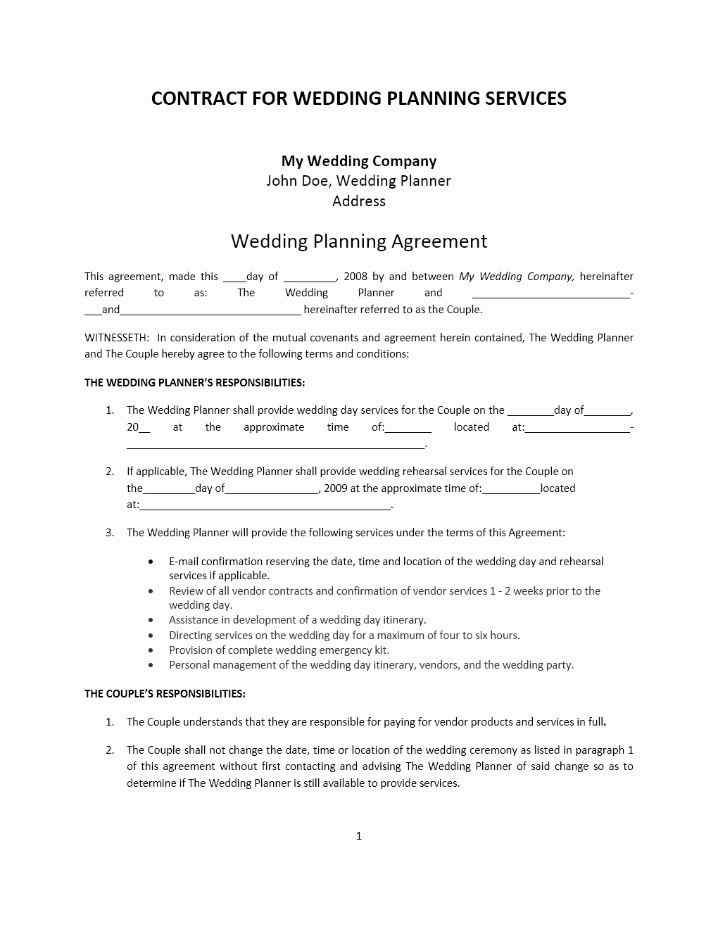Wedding Planning Contract Templates New Wedding Planner Contract Template