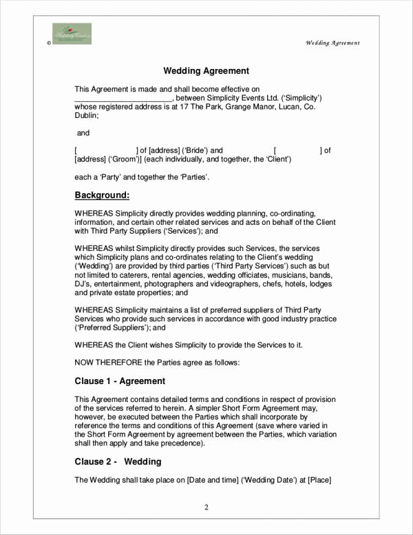 Wedding Planning Contract Templates Unique 5 Wedding Planner Contract Samples & Templates Word Pdf