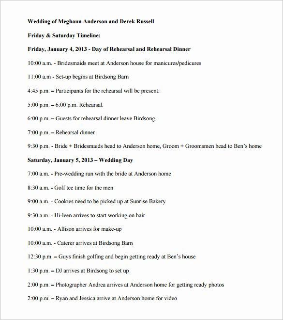 Wedding Reception Timeline Template Beautiful 29 Wedding Timeline Template Word Excel Pdf Psd
