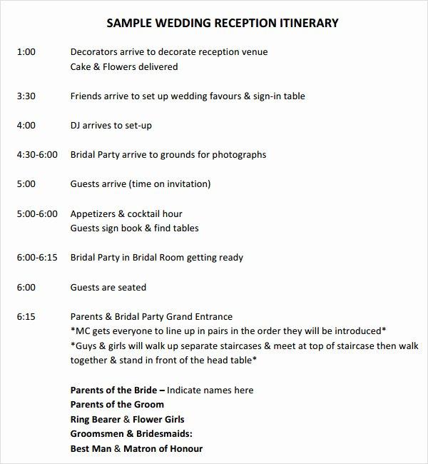 Wedding Reception Timeline Template Elegant Free 5 Sample Wedding Timeline Templates In Pdf Word