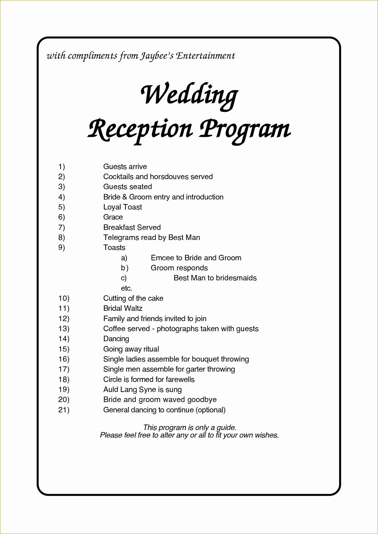 Wedding Reception Timeline Template Fresh Wedding Reception Program Template Business Plan for Free