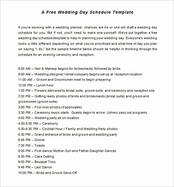 Wedding Reception Timeline Template Inspirational 29 Wedding Timeline Template Word Excel Pdf Psd