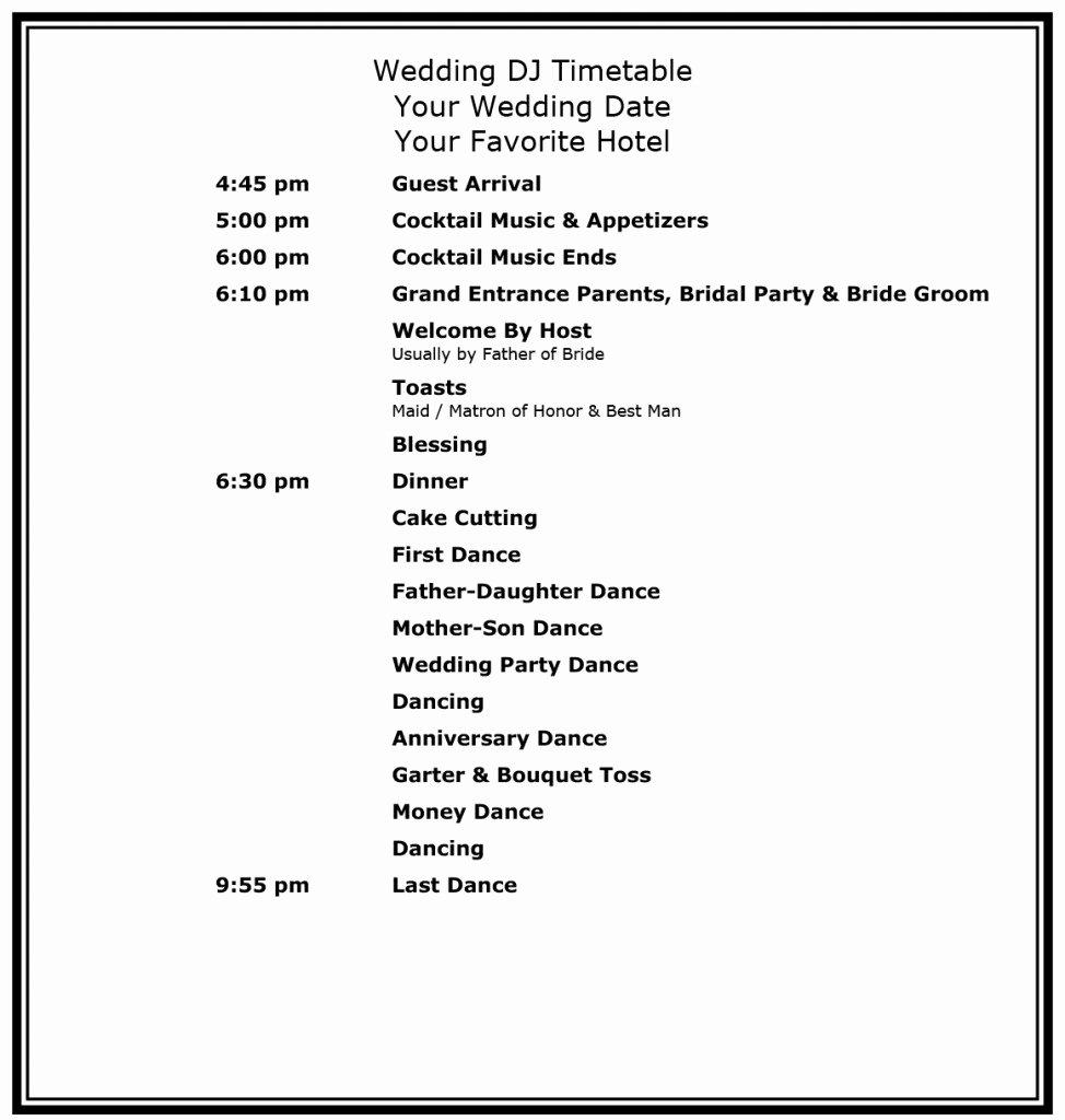 Wedding Reception Timeline Template Inspirational Proper Wedding Timeline Management for Receptions