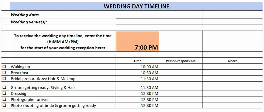 Wedding Reception Timeline Template Inspirational Wedding Day Timeline Template Generator Printable