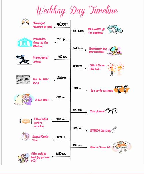 Wedding Reception Timeline Template Luxury Wedding Day Timeline Template