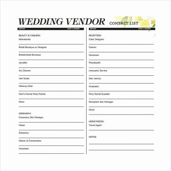 Wedding Vendor Contact List Template Awesome Contact List Template 14 Download Free Documents In Pdf