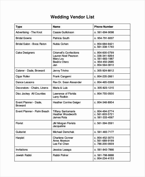 Wedding Vendor Contact List Template Awesome Vendor List Template 7 Free Word Pdf Document