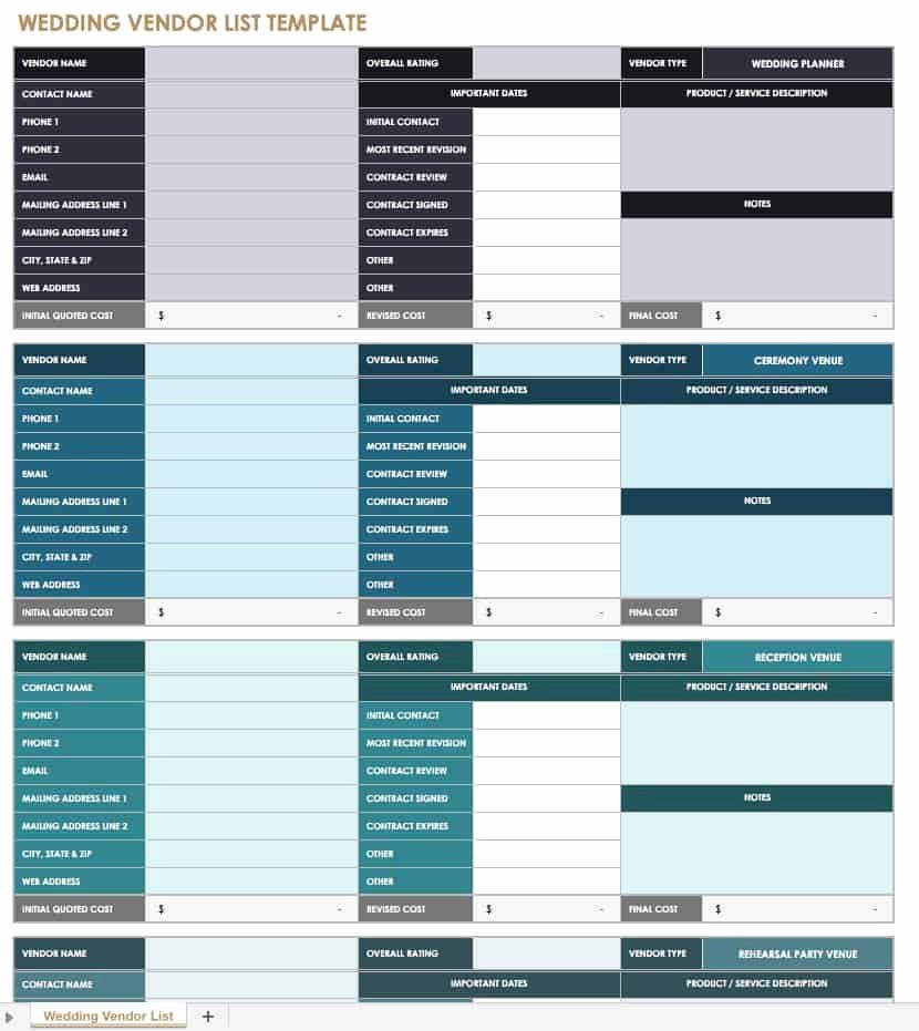 Wedding Vendor Contact List Template Beautiful 21 Free event Planning Templates