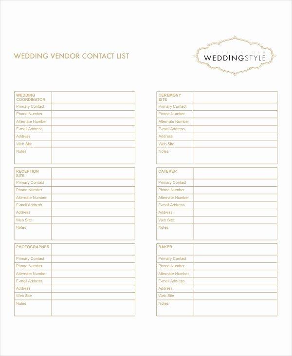 Wedding Vendor Contact List Template Beautiful 8 Vendor List Templates Pdf Doc