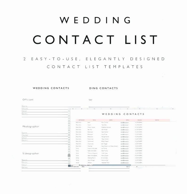 Wedding Vendor Contact List Template Beautiful Umbrello